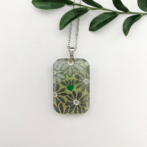 green flowers ~ Japanese paper pendant