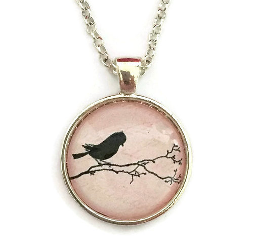 little bird on a branch on pink pendant