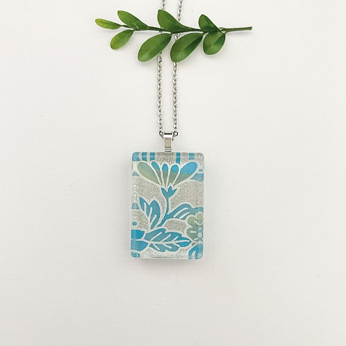 silver & blue Japanese paper pendant