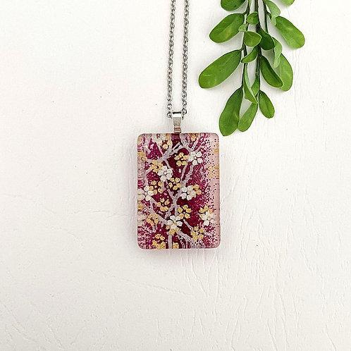 dark purple with white flowers necklace