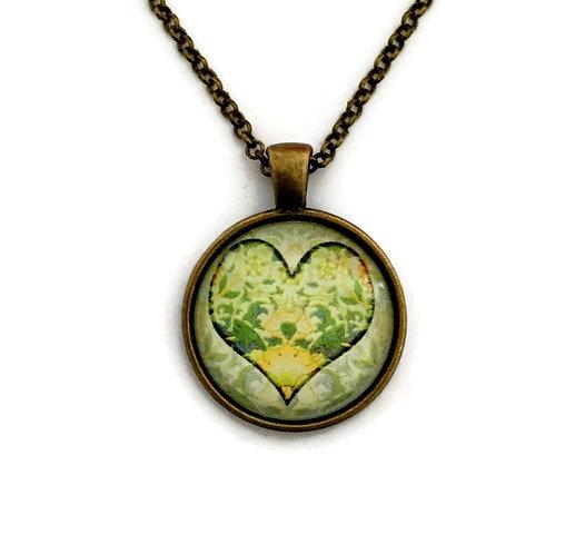light green heart necklace
