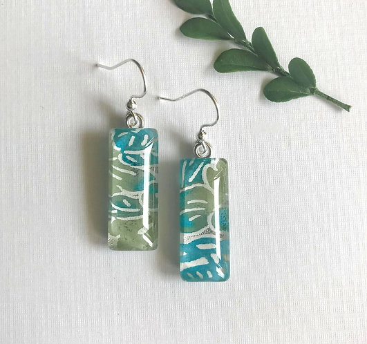 slimline silver/blue/green Japanese paper earrings