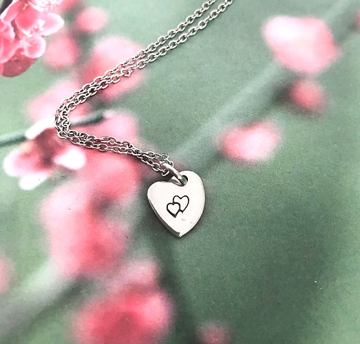 double heart on heart pendant with chain