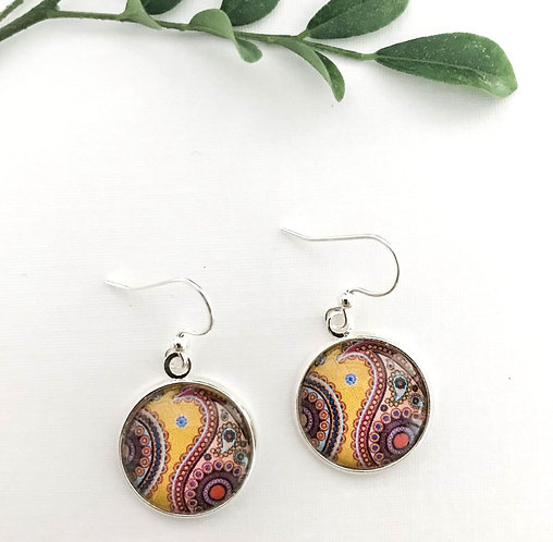 yellow paisley earrings