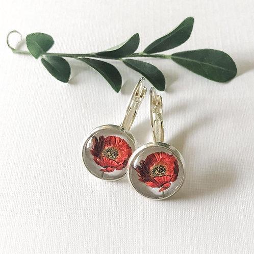 single poppy earrings
