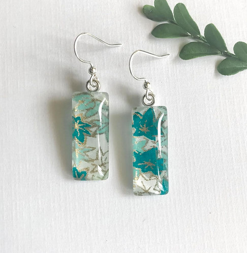 slimline Japanese paper earrings with blue/green flowers