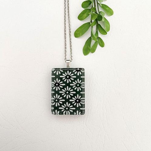 dark green with white flower like pattern ~ glass tile pendant