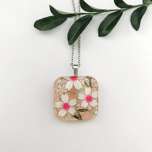 square white and pink flower pendant