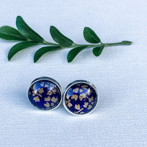 stud earrings purple and gold