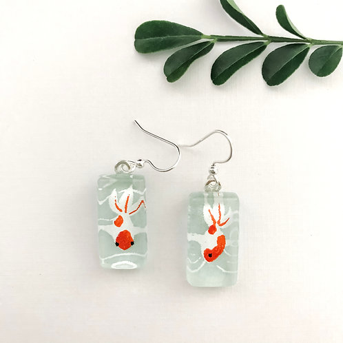 Orange and white coy fish on green Japanese paper earrings