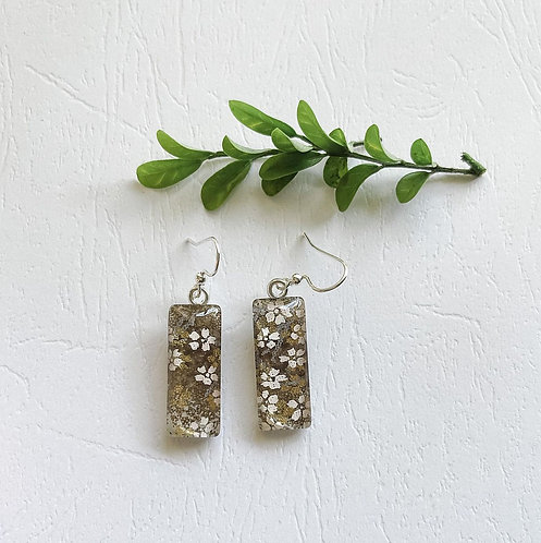 grey with white & gold flowers Japanese paper earrings