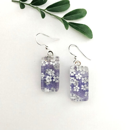 light purple with white & silver flowers Japanese paper earrings