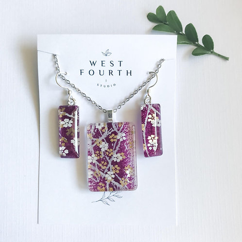 pendant and earring set ~ purples with white & gold flowers