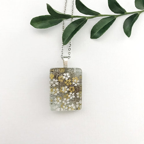 mini pendant in grey with  little white flowers
