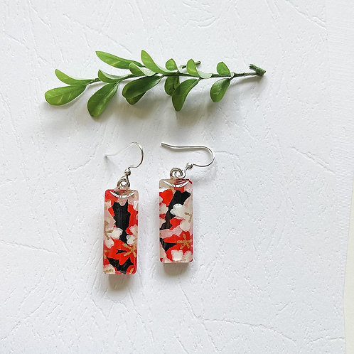 red, blue & white classic Japanese paper ~ glass earrings