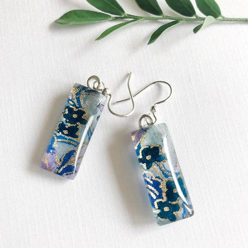 slimline glass tile earrings with blue flowers