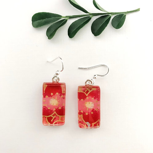 glass tile earrings ~ pink & red & yellow flowers