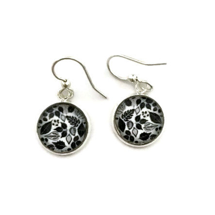 black leaves earrings