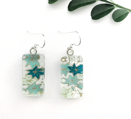 japanese paper earrings with blue & green flowers