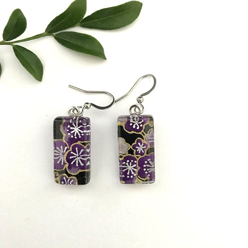 glass tile earrings ~ purple cherry blossoms