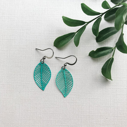 Aqua Leaf Style Earrings