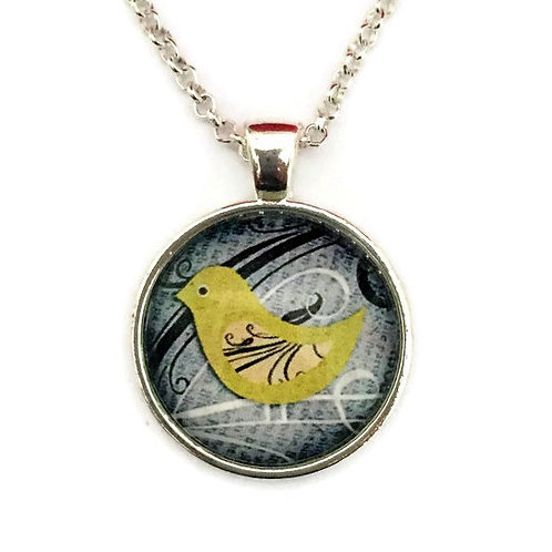 yellow bird on grey necklace