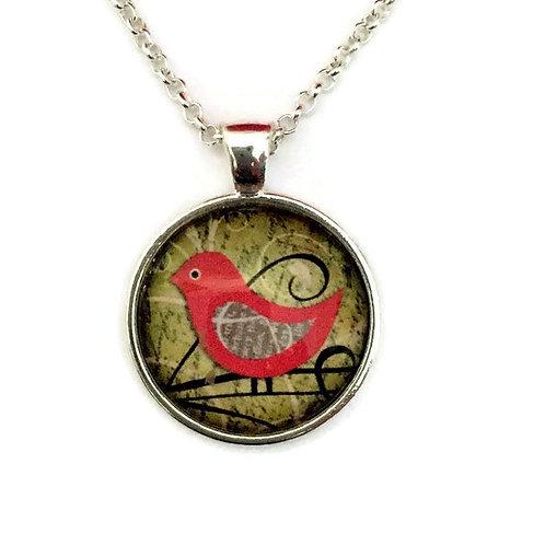 dark pink bird necklace