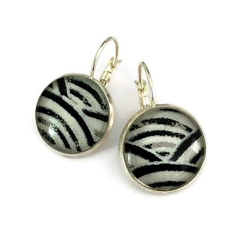 black and white Japanese paper earrings