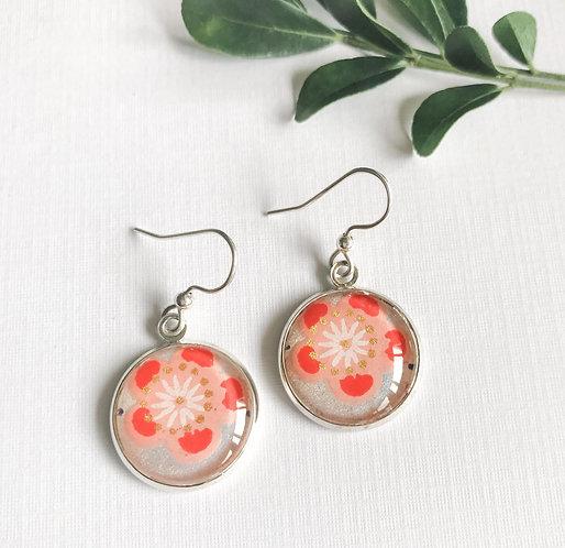 japanese paper earrings ~ orange cherry blossom