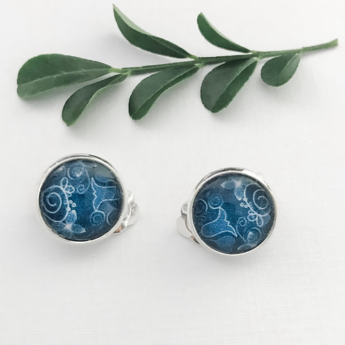 clip-on earrings ~ blue pattern