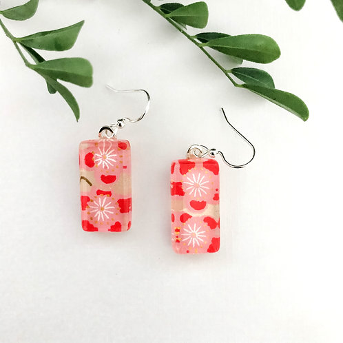 glass tile earring ~ red cherry blossoms