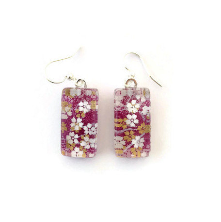 Japanese paper earrings with white & gold flowers on purple