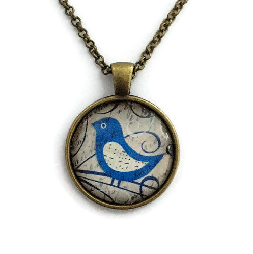 navy blue bird necklace