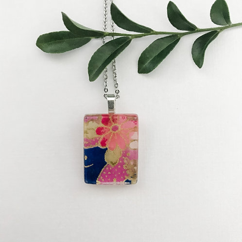 mini pendant with pink flower Japanese paper