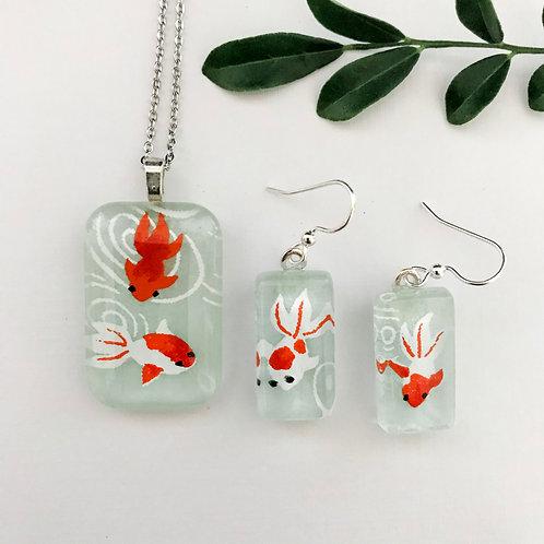 pendant and earring set ~ orange & white fish