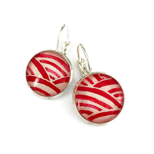 red and white Japanese paper earrings
