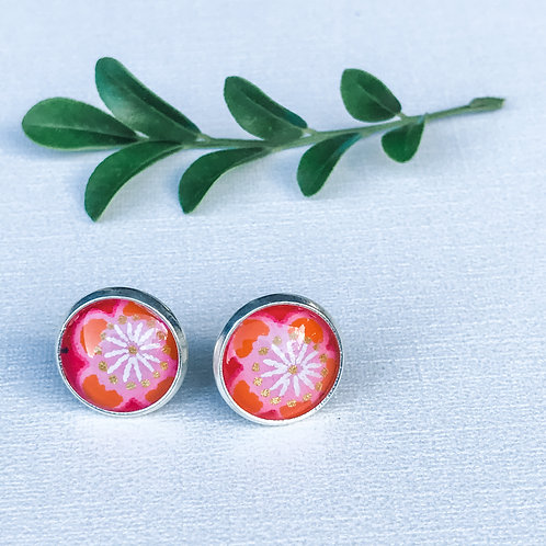 stud earrings orange cherry blossom