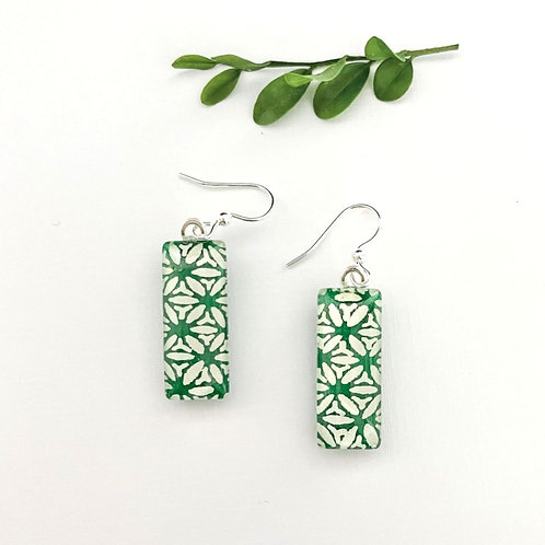 gorgeous green with white pattern ~ glass tile earrings