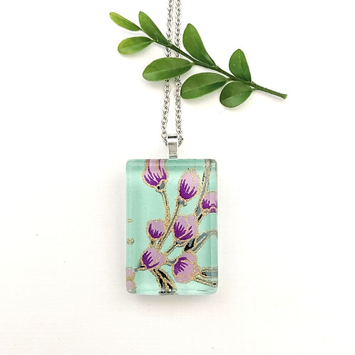 green and purple Japanese paper necklace