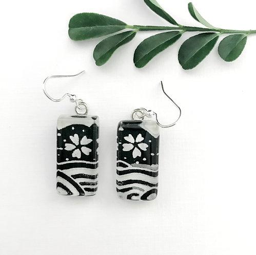 glass tile earrings ~ black and white