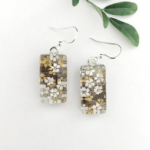 glass tile earring ~ little white flowers in a sea of grey