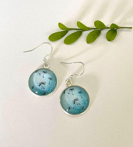 blue floating dandelion earrings