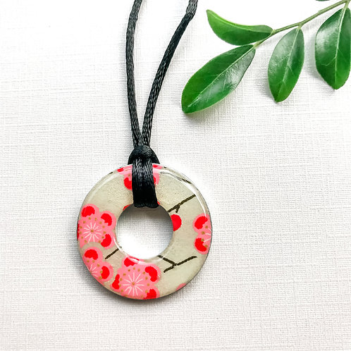 washer pendant – japanese paper 001 (red)