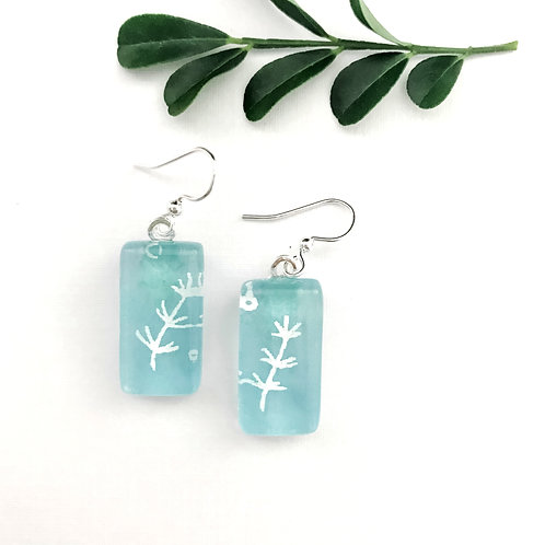 Japanese paper earrings with blue and white pattern