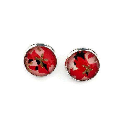 stud earrings red and black