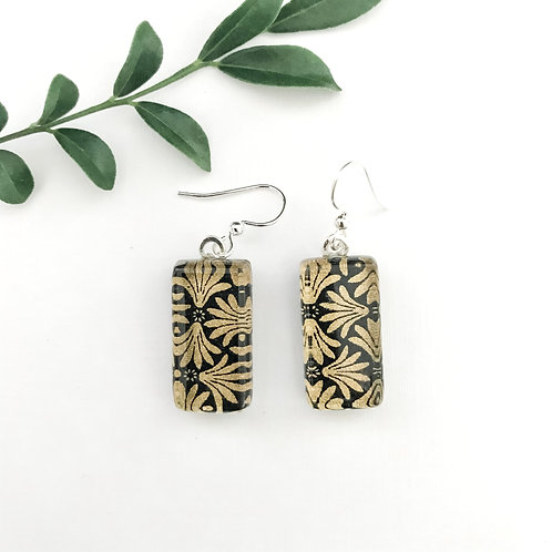 Japanese paper earrings with gold & black pattern