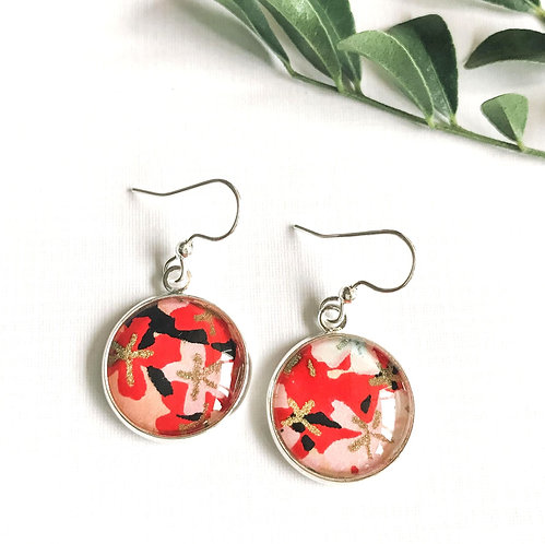 red, black and gold Japanese paper earrings