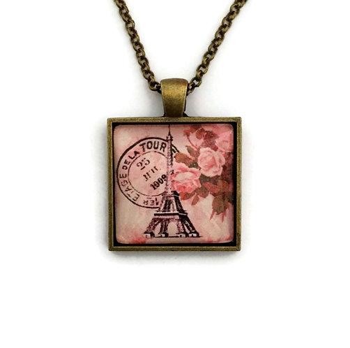 Pink Paris necklace on square