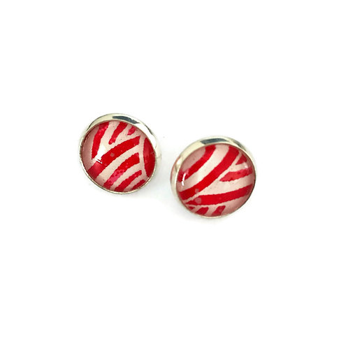 stud earrings red and white