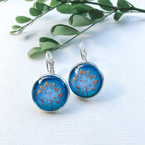 blue tree of life earrings
